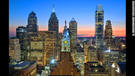 Sleek, modern buildings dominate Philadelphia's skyline. Until 1987, a gentlemen's agreement limited building construction to the height of City Hall. Today, lights emanate from dozens of buildings, making the nation's fifth largest city sparkle.