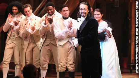 "NEW YORK, NY - AUGUST 06:  Lin-Manuel Miranda performs at ""Hamilton"" Broadway Opening Night at Richard Rodgers Theatre on August 6, 2015 in New York City.  (Photo by Neilson Barnard/Getty Images)"