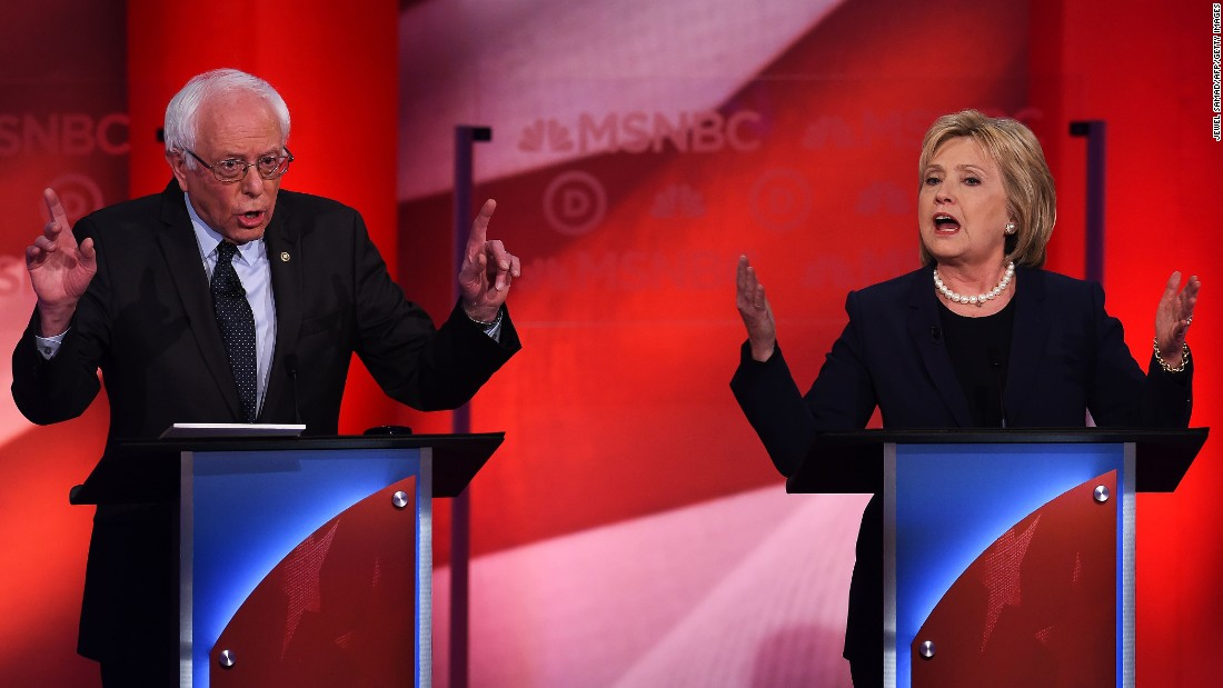"""Democratic presidential candidates Bernie Sanders and Hillary Clinton face off in the <a href=""""http://www.cnn.com/2016/02/05/politics/democratic-debate-takeaways-msnbc/"""" target=""""_blank"""">MSNBC Democratic debate</a> at the University of New Hampshire in Durham on Thursday, February 4. Among other topics, <a href=""""http://www.cnn.com/2016/02/04/politics/democratic-debate-highlights/"""" target=""""_blank"""">Clinton debated Sanders</a> about his statements that she is trying to be both a moderate and a progressive."""