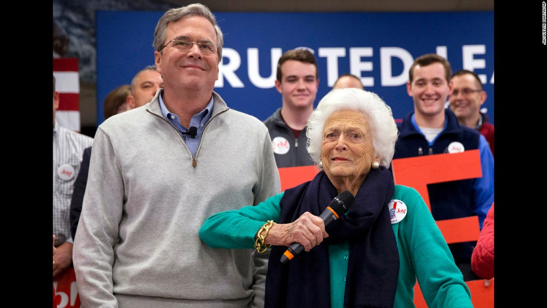 """Barbara Bush jokes with her son, Republican presidential candidate Jeb Bush, while <a href=""""http://www.cnn.com/2016/02/04/politics/barbara-bush-jeb-2016-election/"""" target=""""_blank"""">introducing him</a> at a town hall meeting at West Running Brook Middle School in Derry, New Hampshire, on Thursday, February 4."""