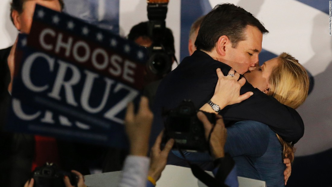 """Republican presidential candidate Ted Cruz kisses his wife Heidi at a rally in Des Moines after <a href=""""http://www.cnn.com/2016/02/01/politics/iowa-caucuses-2016-highlights/index.html"""" target=""""_blank"""">winning the Iowa caucuses</a> on Monday, February 1."""