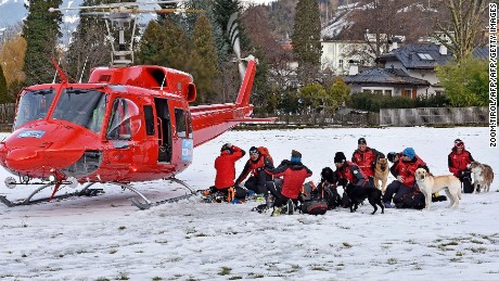 Rescue teams prepare to search for victims of an avalanche in Austria on Saturday, February 6.