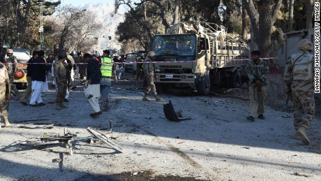 Pakistani paramilitary soldiers examine the site of a bomb explosion that targeted a security convoy in Quetta on February 6, 2016. A bomb blast struck a paramilitary vehicle and killed at least eight people and wounded more than 35 others in southwestern Pakistani city of Quetta, official said. AFP PHOTO / BANARAS KHAN / AFP / BANARAS KHAN        (Photo credit should read BANARAS KHAN/AFP/Getty Images)