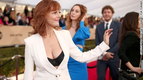After Piers Morgan criticizes Susan Sarandon for her plunging neckline, Twitter users show solidarity with her by sharing pictures of their cleavage.