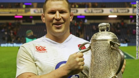 England captain Dylan Hartley poses with the Calcutta Cup following his team's victory in the Six Nations opening day.