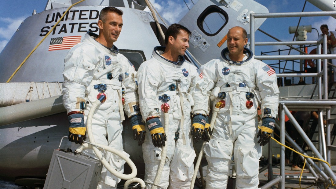 The Apollo 10 mission was just like a lunar landing mission -- but without the landing. Crew members, from left, are Gene Cernan, John Young and Thomas Stafford. They launched on May 18, 1969, made 31 orbits of the moon and splashed down in the Pacific on May 26.