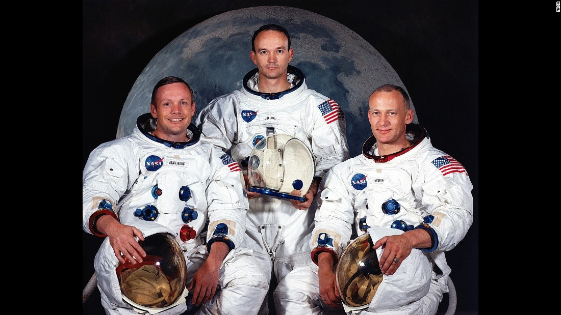 "Apollo 11 was the first manned mission to land on the moon. The crew members, from left, were Neil Armstrong, Michael Collins and Edwin ""Buzz"" Aldrin. The mission launched on July 16, 1969."