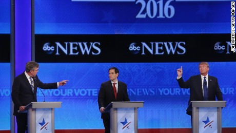 Republican presidential candidates Jeb Bush, Sen. Marco Rubio (R-FL) and Donald Trump participate in the Republican presidential debate at St. Anselm College February 6, 2016 in Manchester, New Hampshire.