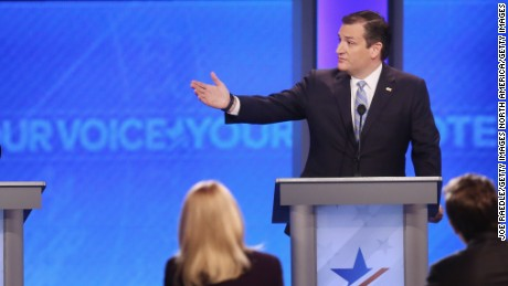 MANCHESTER, NH - FEBRUARY 06:  Republican presidential candidates Donald Trump and Sen. Ted Cruz (R-TX) participate in the Republican presidential debate at St. Anselm College February 6, 2016 in Manchester, New Hampshire. Sponsored by ABC News, the Independent Journal Review and Google, this is the final televised debate before voters go to the polls for the New Hampshire primary on February 9.  (Photo by Joe Raedle/Getty Images)