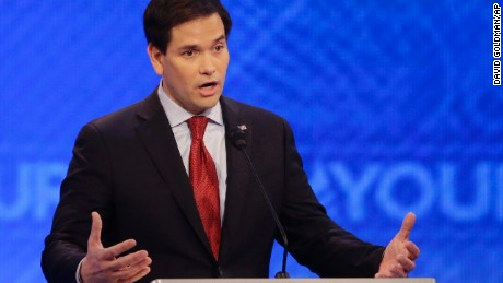 Republican presidential candidate, Sen. Marco Rubio, R-Fla.,  answers a question during a Republican presidential primary debate hosted by ABC News at the St. Anselm College  Saturday, Feb. 6, 2016, in Manchester, N.H. (AP Photo/David Goldman)