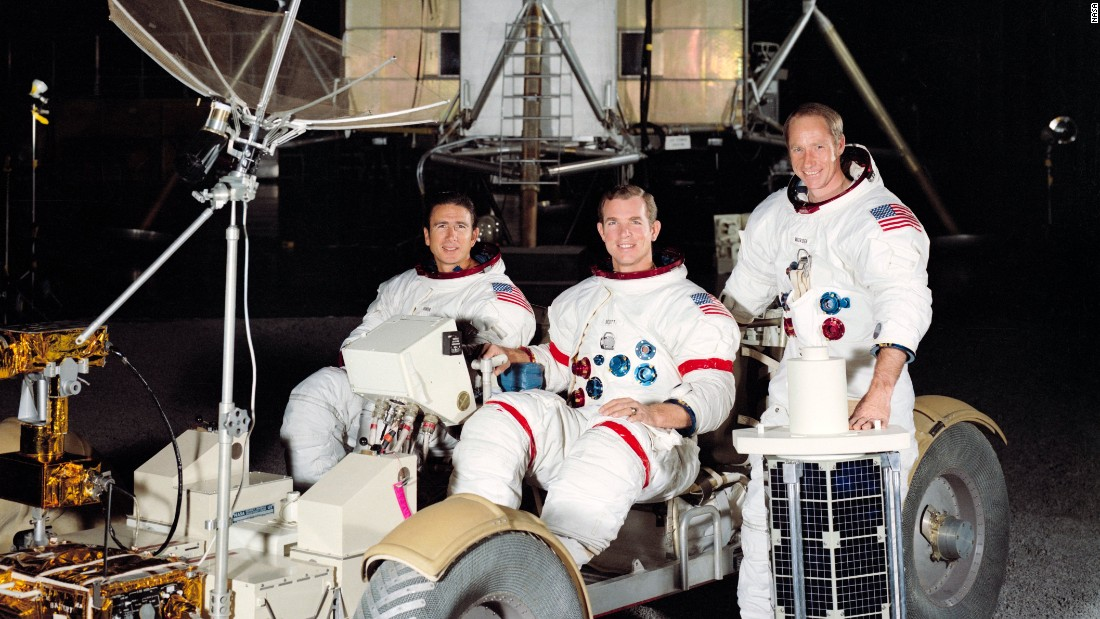 Apollo 15 was the first mission capable of a longer stay on the moon, and the crew had its own rover. From left are Jim Irwin, David Scott and Alfred Worden. Irwin and Scott walked on the moon while Worden kept watch in the command module. The mission launched July 26, 1971, landed on the moon July 30 and returned to Earth on August 7.