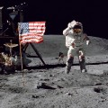 John Young walks on the moon