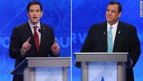 Marco Rubio and Chris Christie from GOP debate February 6, 2016 in New Hampshire
