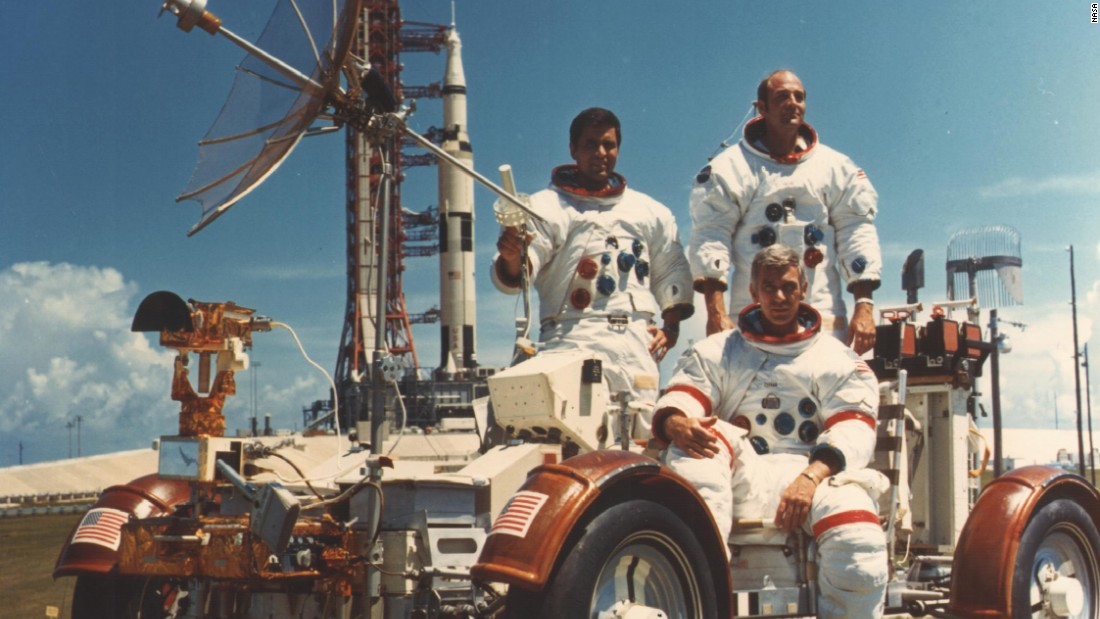 Apollo 17 was NASA's last manned mission to the moon. It launched on December 7, 1972, landed on the moon December 11 and splashed down on Earth on December 19. From left are Harrison Schmitt, Gene Cernan and Ronald Evans. Schmitt and Cernan walked on the moon while Evans orbited in the command module. The crew stayed on the surface 75 hours and collected 243 pounds of lunar material.