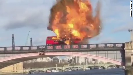 A screen grab of a video tweeted by a local London fire service, @FireLambeth, of a stunt bus blast.