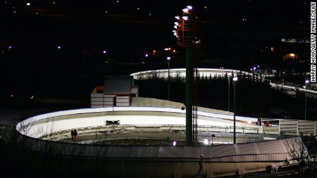 A nighttime view from 2005 shows the Canada Olympic Park in Calgary, Alberta.