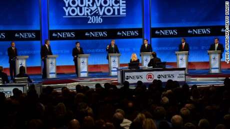 Republican presidential candidates participate in the Republican Presidential Candidates Debate February 6, 2016 at St. Anselm's College Institute of Politics in Manchester, New Hampshire. From left are: John Kasich, Jeb Bush, Marco Rubio, Donald Trump, Ted Cruz, Ben Carson, and Chris Christie.