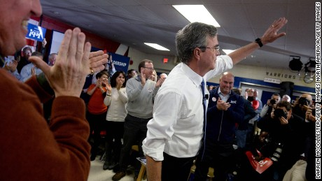 SALEM, NH - FEBRUARY 7: Republican Presidential candidate Jeb Bush holds a town hall at Woodbury School February 7,  2016 in Salem, New Hampshire. (Photo by Darren McCollester/Getty Images)