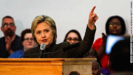 FLINT, MI - FEBRUARY 7:  Democratic Presidental candidate Hillary Clinton speaks at House of Prayer on February 7, 2016 in Flint, Michigan. (Photo by Sarah Rice/Getty Images)