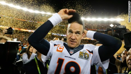 Denver Broncos quarterback Peyton Manning celebrates after winning Super Bowl 50 against the Carolina Panthers on Sunday, February 7. The Broncos won 24-10. (Ben Liebenberg via AP)