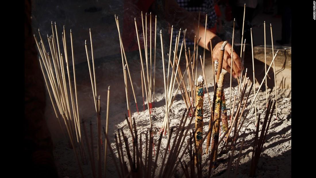Joss sticks are burned at a temple in Kuala Lumpur, Malaysia, on February 8.