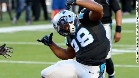 SANTA CLARA, CA - FEBRUARY 07:  Jonathan Stewart #28 of the Carolina Panthers reacts after scoring  a touchdown against the Denver Broncos in the second quarter during Super Bowl 50 at Levi's Stadium on February 7, 2016 in Santa Clara, California.  (Photo by Al Bello/Getty Images)