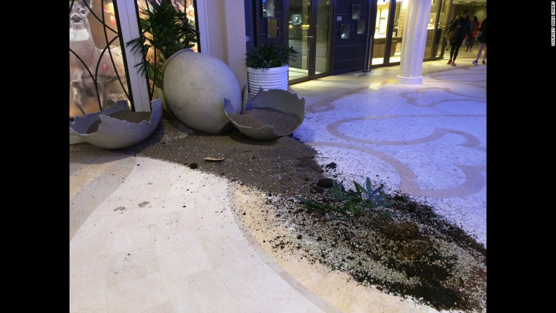 "The rough weather left a vase shattered. The ship suffered damage to some public areas and cabins but ""remains seaworthy,"" Royal Caribbean said."