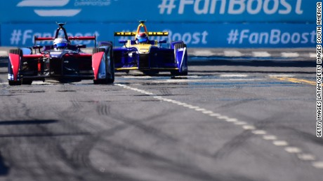 BUENOS AIRES, ARGENTINA - FEBRUARY 06:  Sam Bird of DS Virgin Racing Formula E Team and Sebastien Buemi of Renault e.dams during the Buenos Aires ePrix as part of 2015-2016 FIA Formula E Championship at Puerto Madero Street Race Track on February 06, 2016 in Buenos Aires, Argentina. (Photo by Amilcar Orfali/Getty Images for TAG Heuer)