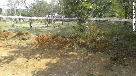 Police roped off the scene of the impact at Bharathidasan Engineering College in India's Tamil Nadu state.
