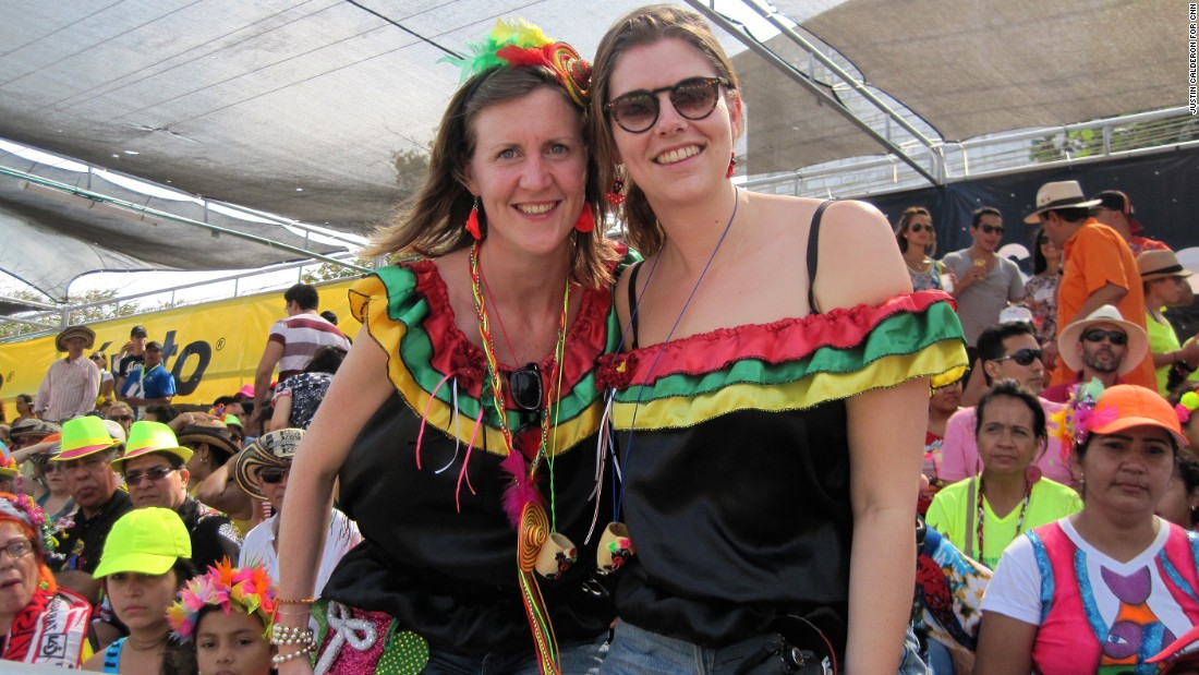 """It's great to see all types of Colombian people come together,"" says Saskia Werner of the Netherlands (left), who attended with friend Lieke Prins."