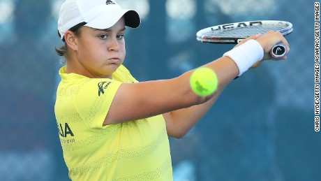 BRISBANE, AUSTRALIA - APRIL 17:  Ashleigh Barty plays a backhand during a training session ahead of their Fed Cup tie between Australia and Germany at Pat Rafter Arena on April 17, 2014 in Brisbane, Australia.  (Photo by Chris Hyde/Getty Images)
