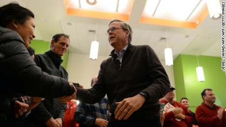 US Republican presidential candidate Jeb Bush greets supporters during a Town Hall meeting in Concord, New Hampshire, on February 5, 2016.  (Photo: AFP / JEWEL SAMAD)