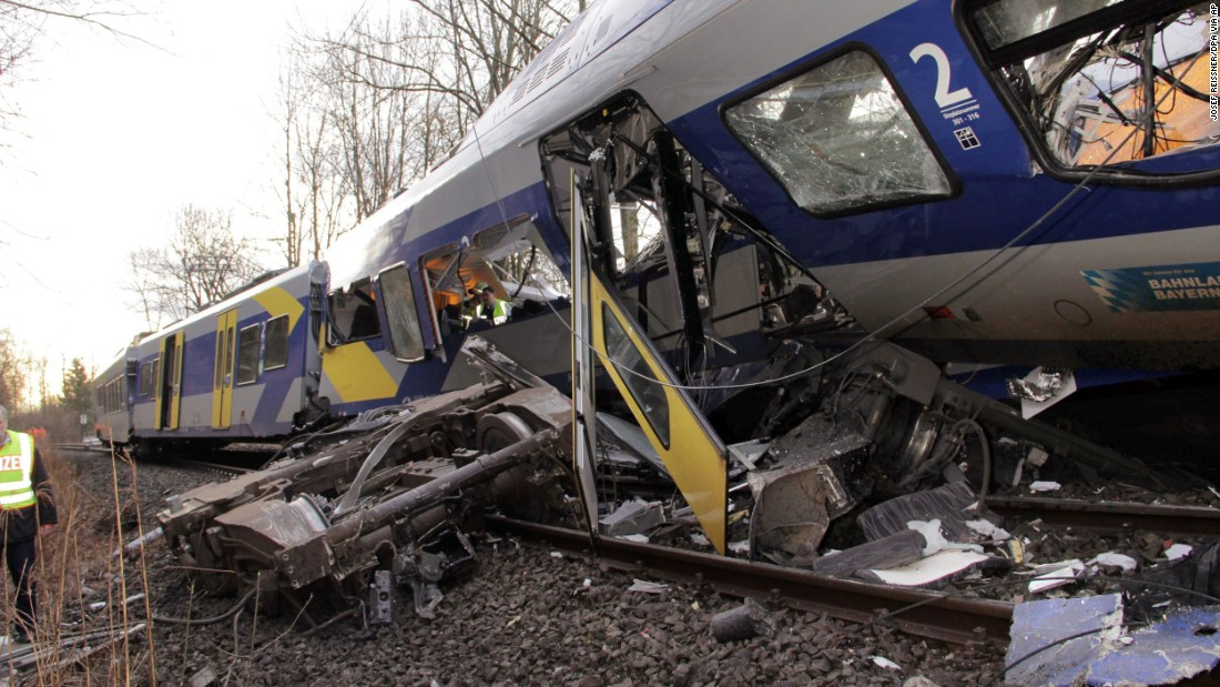 An axis sits separated from the train carriage at the site of of the crash.