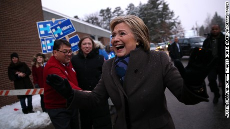 MANCHESTER, NH - FEBRUARY 09:  Democratic presidential candidate former Secretary of State Hillary Clinton greets voters outside of a polling station at Parker Varney School on February 9, 2016 in Manchester, New Hampshire. (Photo by Justin Sullivan/Getty Images)