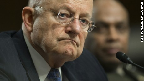 James Clapper (L), director of National Intelligence, and Marine Corps Lt. Gen. Vincent Stewart, director of the Defense Intelligence Agency, testify during a Senate Armed Services Committee hearing on Capitol Hill in Washington, DC, February 9, 2016.  / AFP / Saul LOEB  (Photo credit should read SAUL LOEB/AFP/Getty Images)