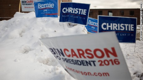 Signs for various candidates are seen outside of the polling place at Merrimack High School on February 9, 2016, in Merrimack, New Hampshire.