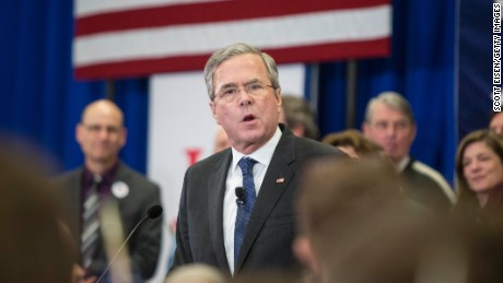 Republican presidential candidate Jeb Bush's addresses his supporters at his election night party at Manchester Community College on February 9, 2016 in Manchester, New Hampshire.