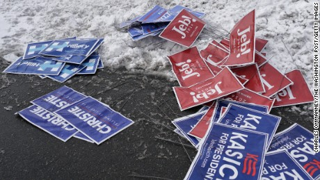 BEDFORD, NH - FEBRUARY 9: Candidates signs lay discarded at a polling location at Bedford High school, February 9, 2016 in Bedford, New Hampshire.  (Photos by Charles Ommanney/The Washington Post via Getty Images)
