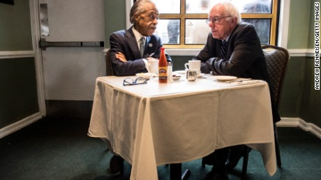 NEW YORK, NY - FEBRUARY 10:  Democratic presidential candidate Sen. Bernie Sanders (D-VT) meets with Reverend Al Sharpton at Sylvia's Restaurant on February 10, 2016 in the Harlem neighborhood of New York City. The meeting comes after a strong victory for Senator Sanders in the New Hampshire primary. (Photo by Andrew Renneisen/Getty Images)
