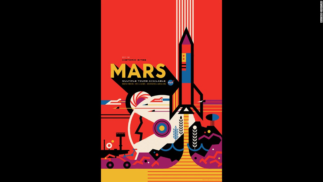 "NASA's Jet Propulsion Laboratory (JPL) released a set of ""travel posters"" depicting various cosmic destinations. This poster shows Mars as a habitable world. The posters -- the brainchild of The Studio, the design and strategy team at JPL -- are a way to celebrate the discovery of planets. JPL visual strategist David Delgado says of the designs: ""All of these far off places are hard to get to, but they are there. The immediate thought was, if we could go there someday, what would it be like?"""
