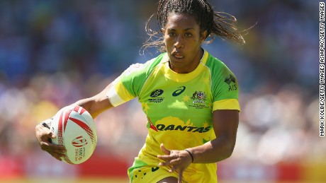SYDNEY, AUSTRALIA - FEBRUARY 07:  Ellia Green of Australia breaks away to score a try during the 2016 Sydney Sevens international friendly womens match three between Australia and Ireland at Allianz Stadium on February 7, 2016 in Sydney, Australia.  (Photo by Mark Kolbe/Getty Images)
