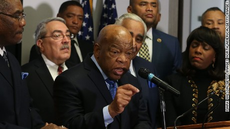 WASHINGTON, DC - FEBRUARY 11:  Rep. John Lewis (D-GA) speaks about Hillary Clinton while flanked by members of the Congressional Black Caucus, during a news conference at the DNC headquarters on Capitol Hill, February 11, 2016 in Washington, DC. (Photo by Mark Wilson/Getty Images)