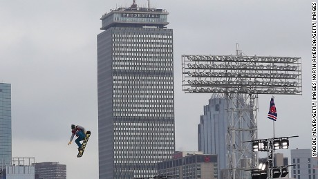 A skier makes a practice run down the ski and snowboarding ramp at Fenway Park ahead of the Polartec Big Air at Fenway Event on February 10, 2016 in Boston, Massachusetts.