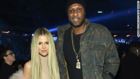 Khloe Kardashian and Lamar Odom attend Kanye West 's Yeezy Season 3 show  in New York City.