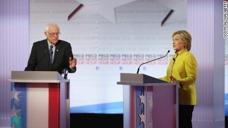 Democratic presidential candidate Sen. Bernie Sanders and Hillary Clinton participate in the PBS NewsHour Democratic presidential candidate debate at the University of Wisconsin-Milwaukee on February 11, 2016, in Milwaukee, Wisconsin.
