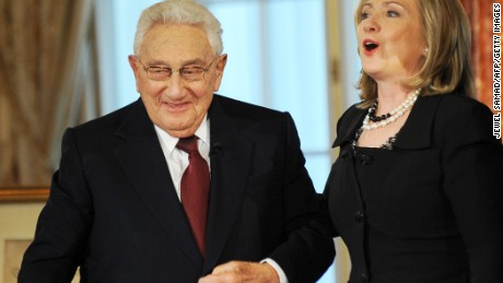 "US Secretary of State Hillary Clinton (R) and former US Secretary of State Henry Kissinger prepare to leave after participating in ""Conversations on Diplomacy, Moderated by Charlie Rose,"" at the Department of State in Washington, DC, on April 20, 2011."