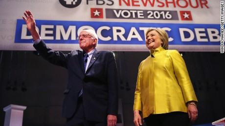 Democratic presidential candidate Senator Bernie Sanders (L) and Hillary Clinton participate in the PBS NewsHour Democratic presidential candidate debate at the University of Wisconsin-Milwaukee on February 11, 2016 in Milwaukee, Wisconsin.