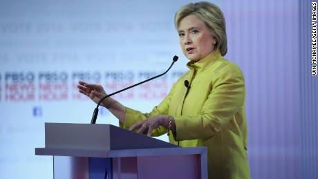 Democratic presidential candidate Hillary Clinton participates in the PBS NewsHour Democratic presidential candidate debate at the University of Wisconsin-Milwaukee on February 11, 2016 in Milwaukee, Wisconsin.