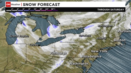 A cold air mass across the Great Lakes is triggering lake-effect snow.