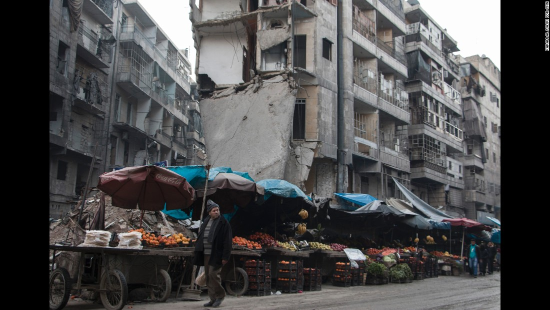 A street market in Aleppo that is still open despite constant airstrikes -- and the huge slab of concrete hanging over it.
